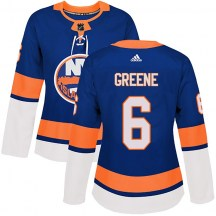 New York Islanders Women's Andy Greene Adidas Authentic Green Royal Home Jersey