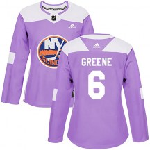 New York Islanders Women's Andy Greene Adidas Authentic Purple Fights Cancer Practice Jersey
