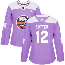 New York Islanders Women's Duane Sutter Adidas Authentic Purple Fights Cancer Practice Jersey