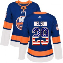 New York Islanders Women's Brock Nelson Adidas Authentic Royal Blue USA Flag Fashion Jersey